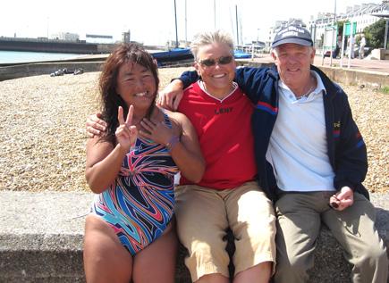 Miyuki, Marcy MacDonald and Barrie Wakeham in Dover harbour