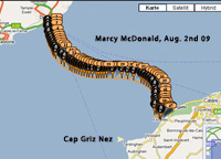 Marcy`s swim route Aug. 2nd 09