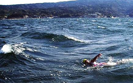 Miyuki says she loves swimming in big waves - like here in Japan
