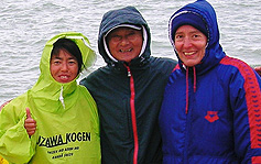 Miyuki, Ishii and Margit, training and waiting in Dover weather