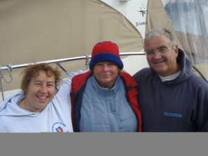 "Vijaya after her successful swim Sept 2007 with Alison Streeter, Queen of the Channel (44 crossings) and ""King"" Kevin"