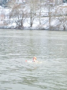 Catching snowballs in the Neckar