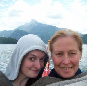 Cuddled up to stay warm before getting into the 12°C water of the  Mondsee