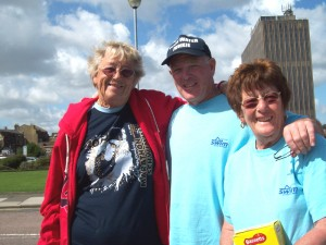 Freda, Barrie and Irene - Beach Crew with Channel General (sporting her new Zurich lake T-shirt)