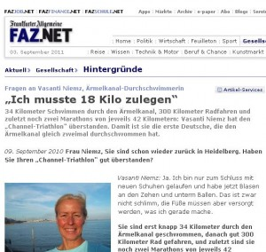 Ärmelkanal-Schwimmen, Ärmelkanal-Triathlon, Interview FAZ, Germany, in German