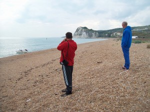 "Shakespeare Beach (or ""Shaky""), departure for many swims, with Shakespeare Cliff in the background"