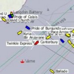 It`s really busy today - 13 boats with swimmers out in the Channel