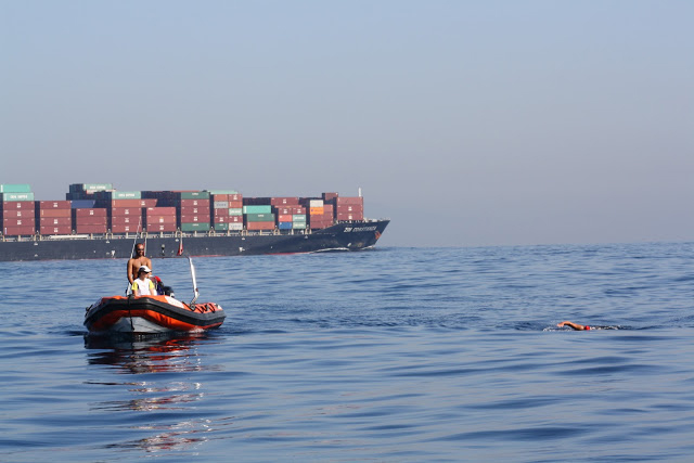 Gibraltar Straits Swim 2012 - Separation Zone  - Swimming to Africa