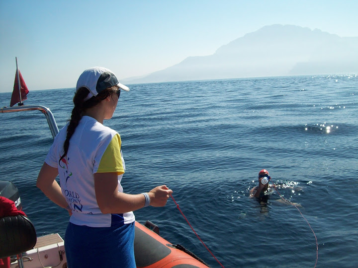 Swimming to Africa - Swimming the Straits of Gibraltar 2012 - Feeding time, with Africa close