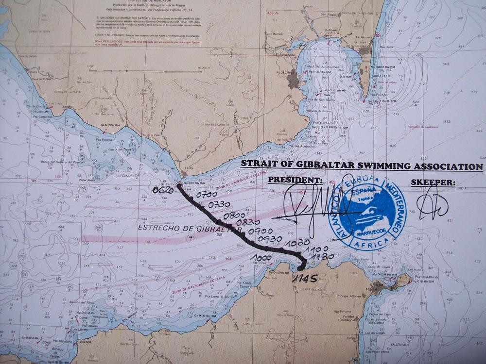 Gibraltar Straits Swim 2012 - official AGNEC certificate - Vasanti`s Swim to Africa
