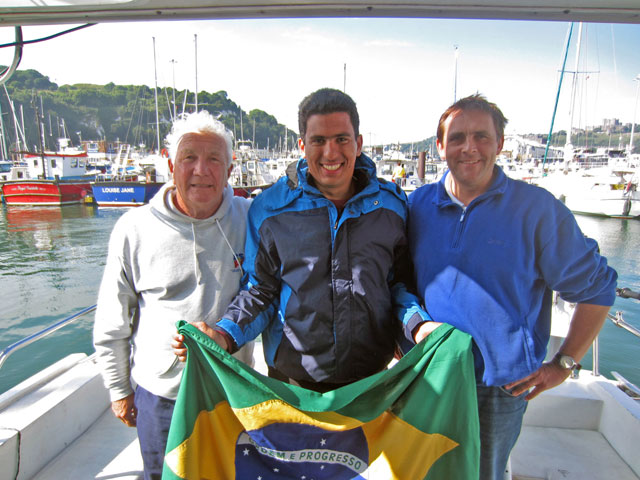 Chris Osmond, Seafarer II, Adriano (the beaming hero) and Karteek