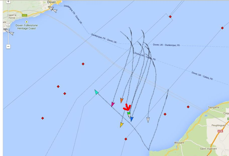 Position around 7 p.m. Dover time