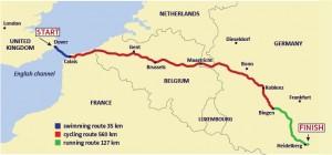 Dover-Heidelberg triathlon route Angikar 2014 - on his bike leg right now