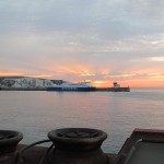 Dover sunrise when I arrived on the Euroline bus via ferry