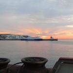 Dover sunrise when I arrived on the Euroline bus via ferry